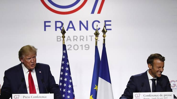 Am Ende des G7-Gipfels gab es für US-Präsident Donald Trump und Frankreichs Präsident Emmanuel Macron mehr zu lachen als auch schon.