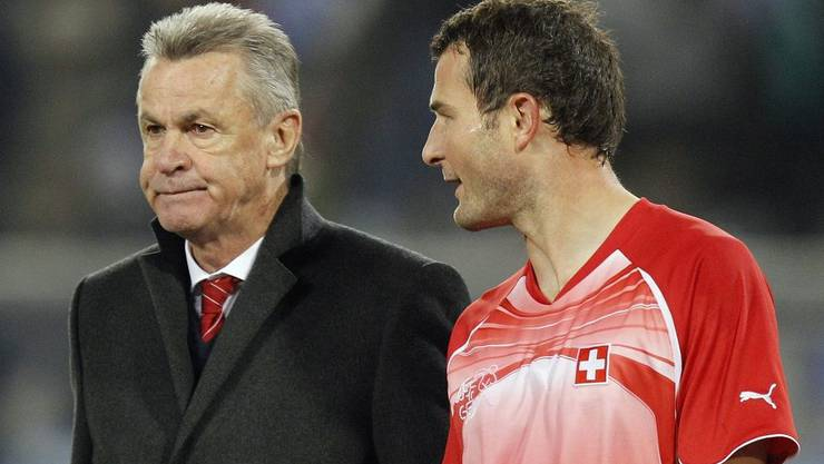Ottmar Hitzfeld und sein Captain Alex Frei.