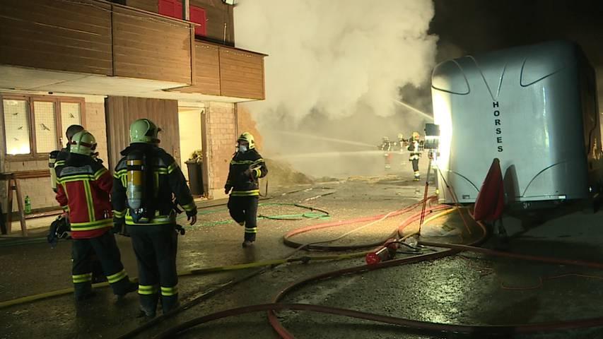Grossbrand in Würenlos: Strohlager einer Pferdeanlage fängt Feuer
