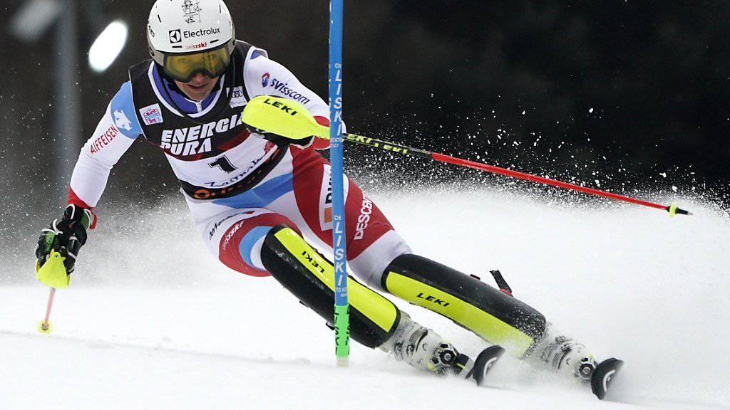 Wendy Holdener bringt sich in Zagreb als Zweite im ersten Lauf in Position für ihren vierten Podestplatz des Winters