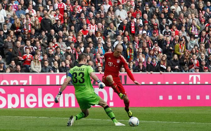 Robben trifft im März 2012 doppelt gegen Hoffenheim. Am Ende siegen die Bayern mit 7:1 – die höchste Bundesliga-Niederlage der TSG.