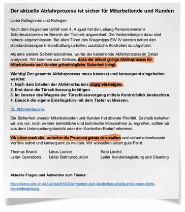 Internes Dokument für SBB-Mitarbeitende: Wird dieser Abfahrablauf bald geändert?