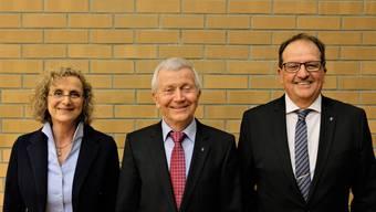 Erste Vizepräsidentin, Präsident und zweiter Vizepräsident: Catherine Peer (SP), Gabriele Olivieri (CVP), Anton Felber (SVP).
