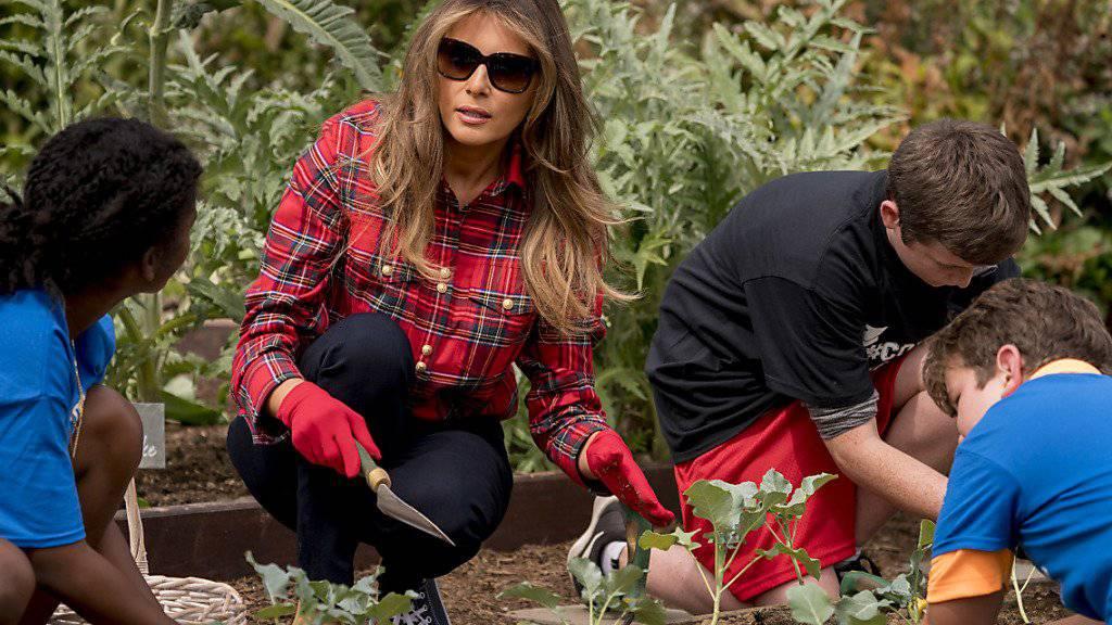 Melania Trump  bearbeitete mit Kindern den Garten des Weissen Hauses. Sie ermahnte ihre Gäste, ausreichend Obst und Gemüse zu essen.