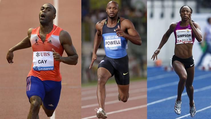 Drei von sechs Doping-Sünder, die am Sonntag bekannt wurden (von links): Tyson Gay, Asafa Powell und Sherone Simpson.