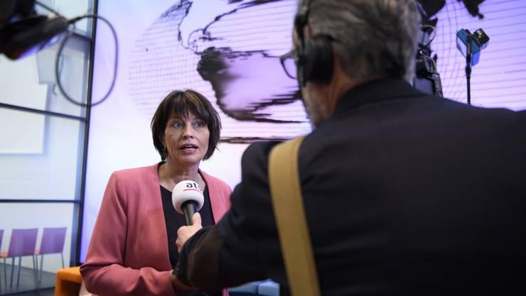 Nach dem Abstimmungssonntag und der Ablehnung von «No Billag» spricht Bundesrätin Doris Leuthard im Medienzentrum des Bundeshaus.