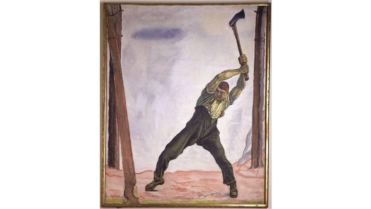 Ferdinand  Hodler schuf den Holzfäller 1908 für die 50er-Note. Das Motiv gefiel und so malte er mehrere Fassungen. Diese von 1910 gehört dem Bund. sie hängt im Kunstmuseum Bern - oder in Büros von Bundesräten.