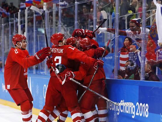 4:3 nach Verlängerung: Die Russen freuen sich über Olympia-Gold