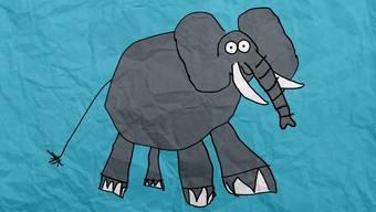 """Der Elefant führt durch die erste Sendung von """"Zoo Kidz""""."""