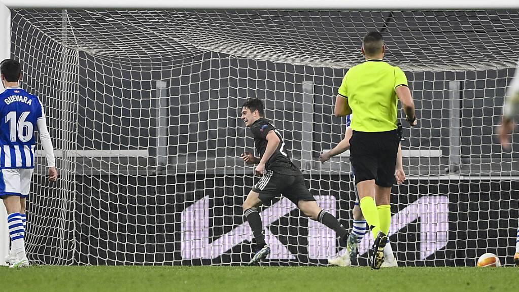 Der Schweizer Schiedsrichter Sandro Schärer sieht in Turin mit an, wie Daniel James mit Manchester United einen riesigen Schritt Richtung Europa-League-Achtelfinal macht.