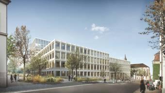 Filigranere Fassade: Neue Visualisierung des Neubaus Klinikum 2 am Petersgraben, im Hintergrund die Predigerkirche.