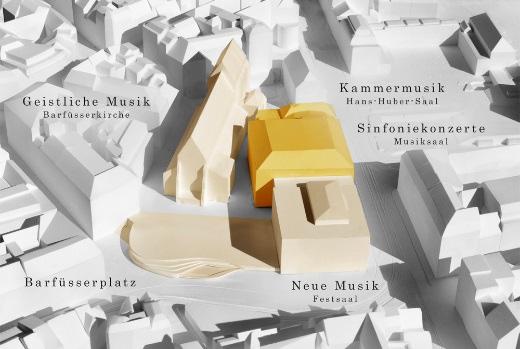 Im Herzen der Stadt soll zwischen Musikakademie, Theater und Schauspielhaus ein Musikzentrum entstehen.