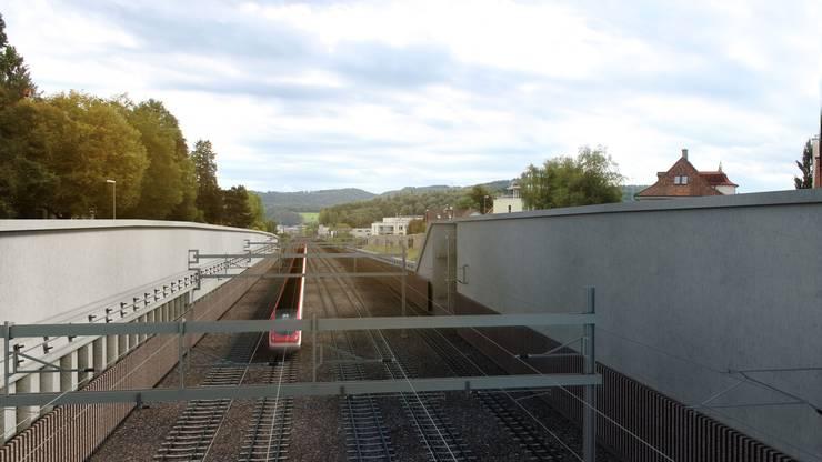 So soll der Vierspurausbau am Bahnhof Liestal aussehen...