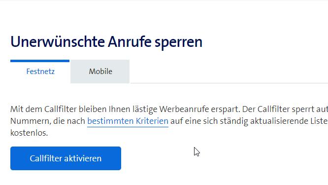 Swisscom Callfilter