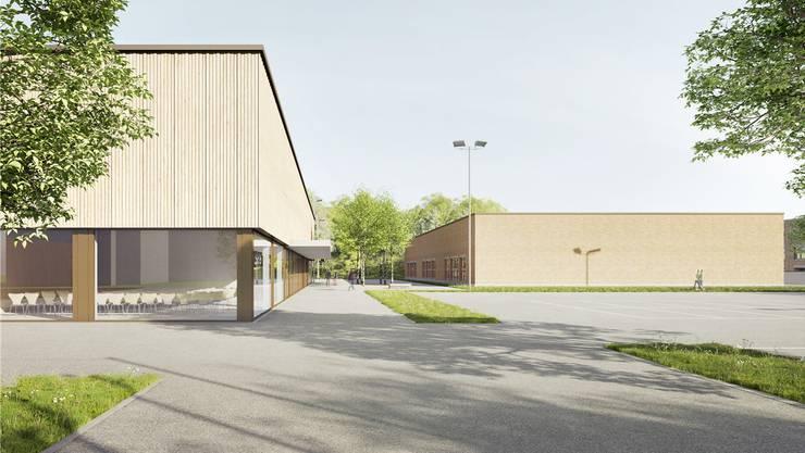 Die Dreifachturnhalle (links) soll versetzt zur bestehenden Halle gebaut werden.Bild: Visualisierung/zvg
