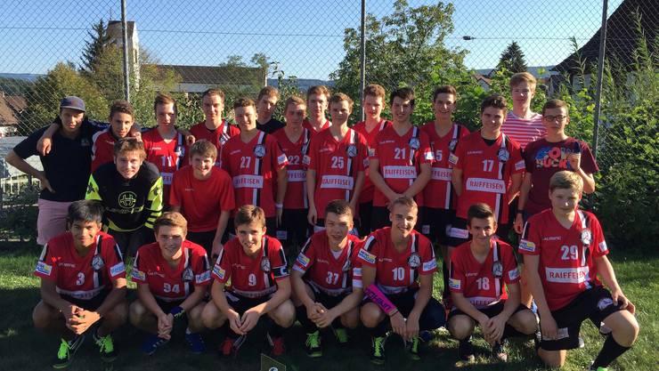 Die Siegermannschaft in der Kategorie U18 AB - Unihockey Basel Regio.