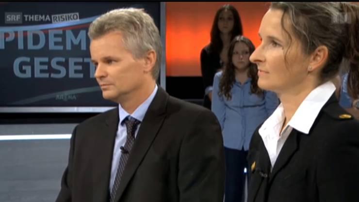 Die Impfgegner Daniel Trappitsch und Yvette Estermann.