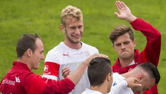 Seltener Auftritt in der Schweizer Nati: Fabian Lustenberger und Valentin Stocker