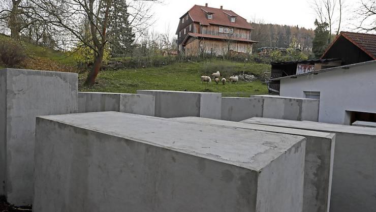 Die Betonstelen vor Höckes Haus sollen an das Holocaust-Mahnmal in Berlin erinnern.