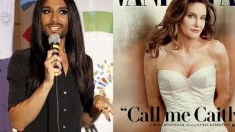 Tom Neuwirth alias Conchita Wurst (l) bewundert Bruce alias Caitlyn Jenner (Keystone/Pressebild)