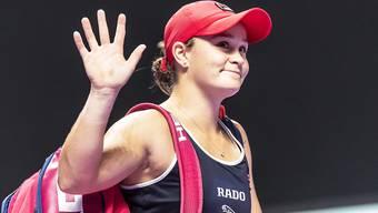 Ashleigh Barty grüsst bei den WTA Finals als Gruppensiegerin