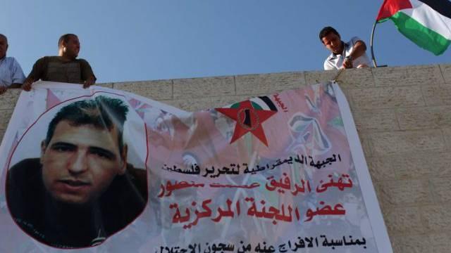 Willkommensgruss für palästinensischen Häftling vor der Freilassung