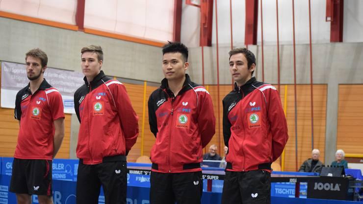 Das NLA-Team des TTC Rio-Star Muttenz mit Dominik Moser, Cédric Tschanz, Chengbowen Yang und Lionel Weber.