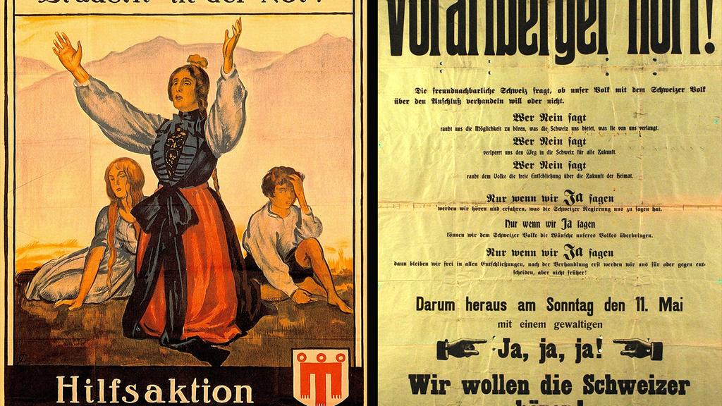 Mit diesen Plakaten warben die Befürworter 1919 für den Kanton Vorarlberg.