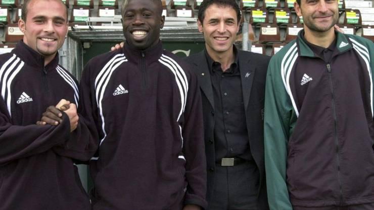 Vier Stützpfeiler der St. Galler Meistermannschaft (von links): Giorgio Contini, Charles Amoah, Trainer Marcel Koller und Ionel Gane