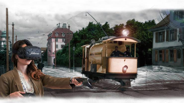 Mit der Virtual-Reality-Brille tauchen die Besucher des Wagi-Museums in das Schlieren von 1902.
