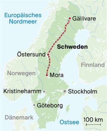 Die Route der «Inlandsbanan».