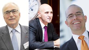 Stolze 25 Milliarden Franken bringen die reichsten Aargauerinnen und Aargauer zusammen auf die Waage. Im Bild: Willi Liebherr, Marc Hayek und Markus Blocher (von links).