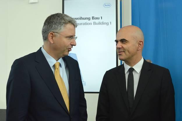 Severin Schwan (links) und Bundesrat Alain Berset (rechts).