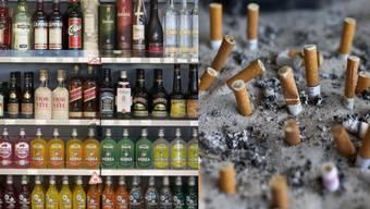 Alkohol und Zigaretten sind immer noch beliebte Genussmittel. (Symbolbild)