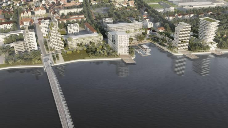 so soll sich das Rheinufer von Huningue (F) in den nächsten fünf Jahren bei der Dreiländerbrücke entwickeln
