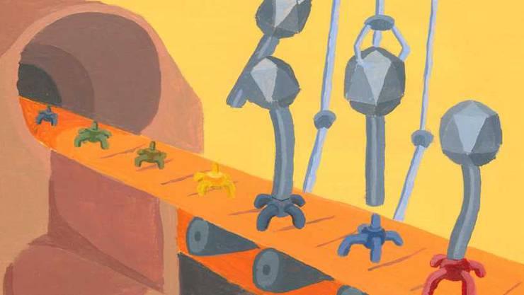 """In Realität läuft das Umprogrammieren der Viren in kleineren Massstäben ab. Doch diese künstlerische Darstellung schaffte es aufs Titelblatt der Fachzeitschrift """"Cell Reports""""."""