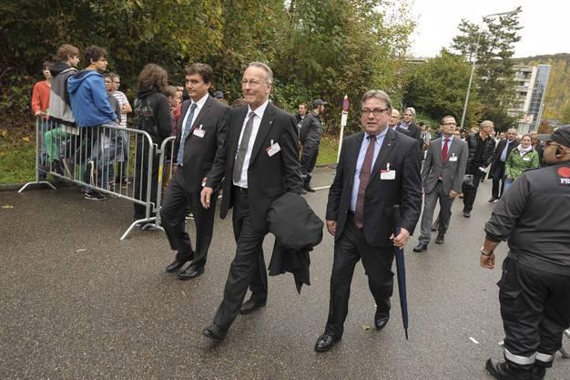 Christoph Buser, Wirtschaftskammer Baselland, Andreas Schneider, Präsident der Wirtschaftskammer und Urs Wüthrich, Regierungsrat Baselland.