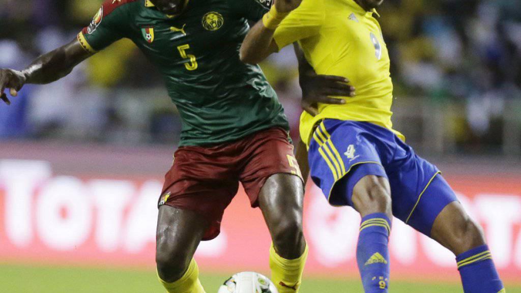 Blieb mit Gastgeber Gabun nach der Vorrunde auf der Strecke: Gabuns Starspieler Pierre-Emerick Aubameyang (rechts)