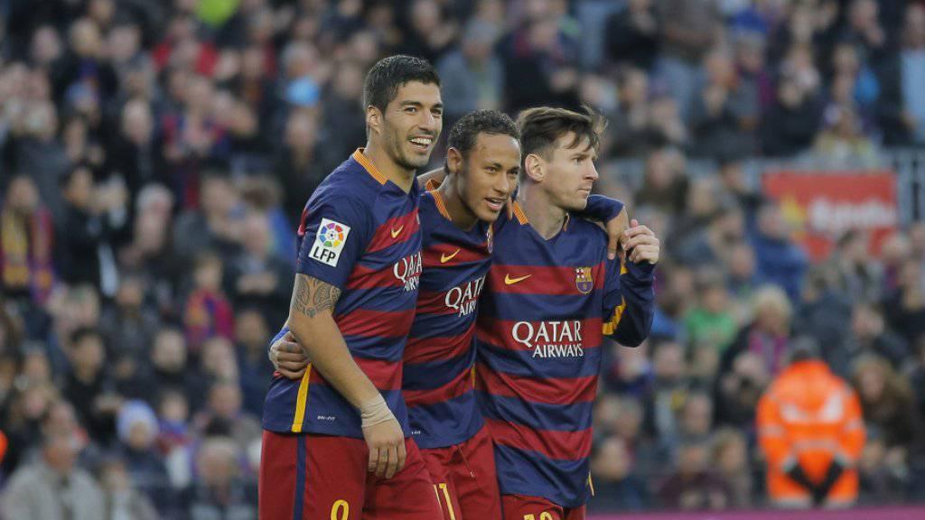 Und sie treffen und treffen: Suarez, Neymar und Messi (von links)