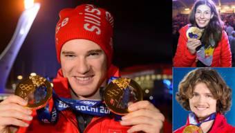Sotschi 2014: Dario Cologna (l.), Dominique Gisin (o.) und Iouri Podlatchikov gewannen vier der sechs Schweizer Gold-Medaillen.