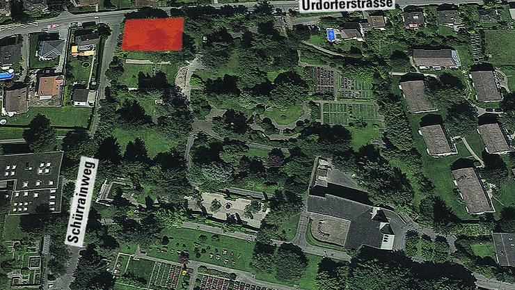 Situationsplan rot, die Fläche für die Muslim-Grabfelder.
