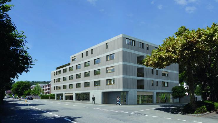 So könnte der Neubau am Schadenmühleplatz aussehen: Im Erdgeschoss soll es zwei Läden geben, darüber 17 Wohnungen.