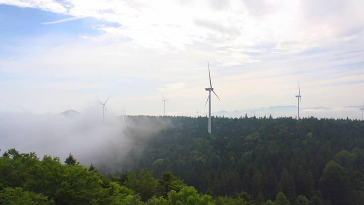 Auf der Challhöhe soll ein Windpark gebaut werden, der Widerstand dagegen ist aber gross. (Montage)