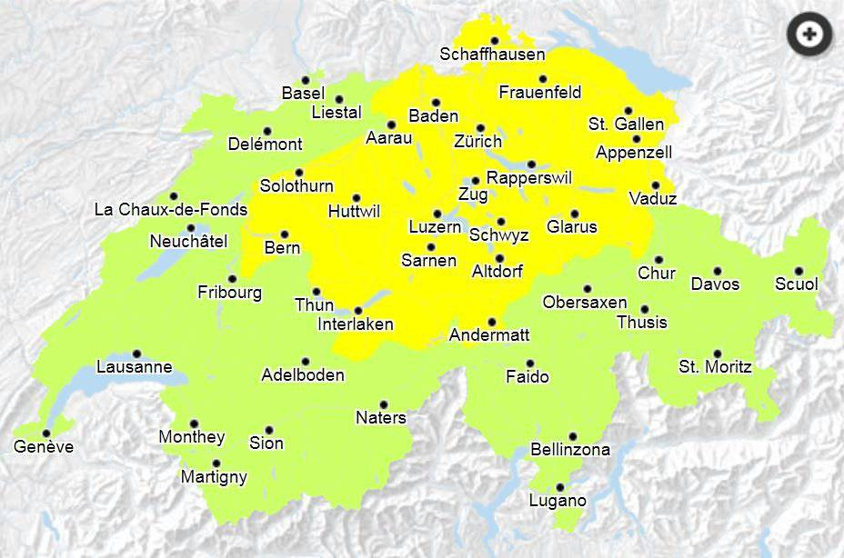 In den gelb markierten Gebieten gilt die Gefahrenstufe 2. (Bild: naturgefahren.ch)