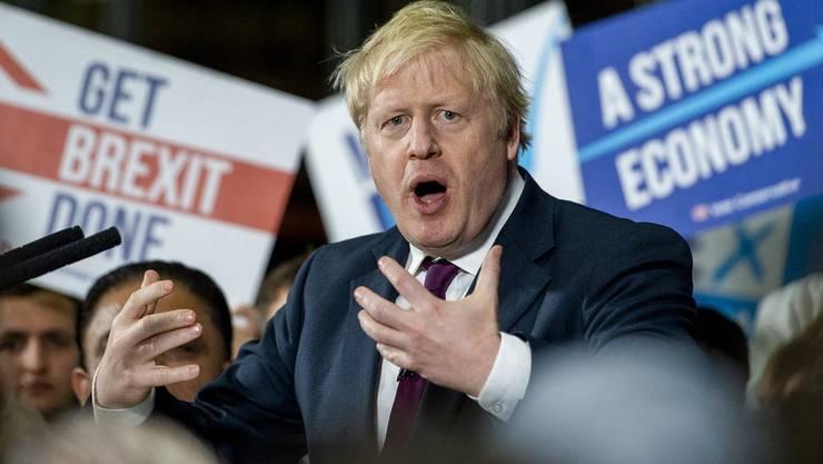 Premierminister Boris Johnson (Tories) bei einer Wahlkampf-Veranstaltung.