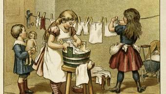 Was Gretchen gelernt hat, wird Margarete brauchen können: «Kleine Wäsche» (Illustration von Adolf Holm aus «Puppenspiel. Ein Buch für kleine Mädchen» von Frieda Schanz (1893). Berlin, Sammlung Archiv für Kunst und Geschichte.