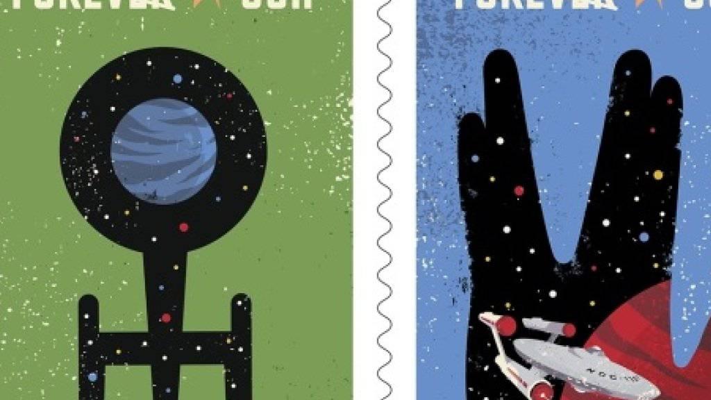 Zwei der vier US-Sondermarken zum 50-Jahr-Jubiläum von «Star Trek» (Handout Ausschnitt).