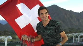 Roger Federer gewinnt den Final in Indian Wells gegen seinen Landsmann Stan Wawrinka – und zeigt seine Freude.