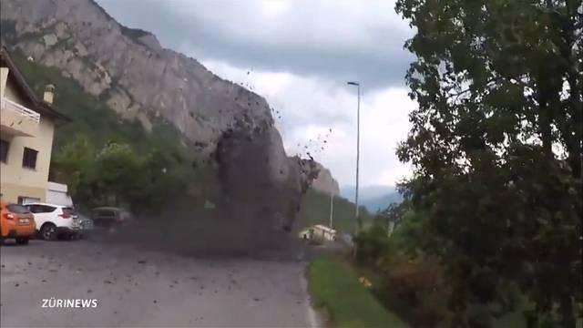 Schlammlawine begräbt Walliser Dorf