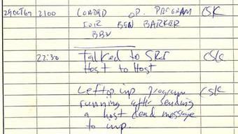 Das Protokoll der ersten Nachricht auf dem Arpanet: «Talked to SRI. Host to Host.» BBN (Bolt, Beranek, Newman) erhielt den Auftrag, die Knoten zu programmieren. Bild: zvg